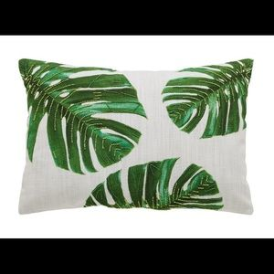 NWT Embellished Palm Leaf Pillow Cover
